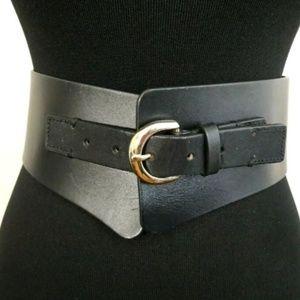 NEW Ann Taylor Black Genuine Leather Wide Belt